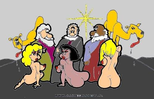Cartoon: Christmas Eve (medium) by cartoonharry tagged xmas,christmas,eve,girls,sexy,king,camel,star