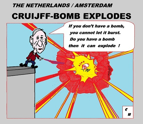 Cartoon: Cruyff Bomb Explodes (medium) by cartoonharry tagged deviantart,buurtlink,linkedin,hyves,toonsup,toonpool,dutch,cartoonharry,cartoonist,drawing,arts,art,artist,comix,comics,comic,cartoon,amsterdam,holland,soccer,ajax,troubles,explodes,bomb,god,cruyff,johan