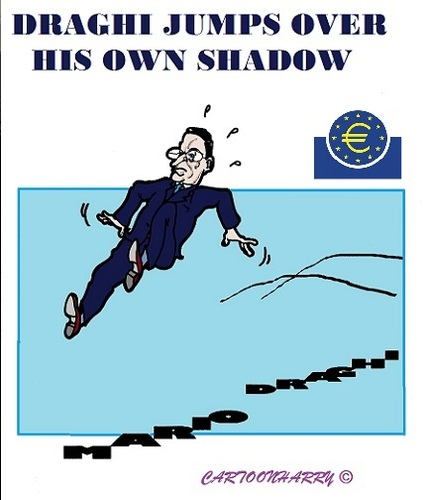 Cartoon: Draghi his Jump (medium) by cartoonharry tagged ecb,rome,draghi,president,money,economy,europ,cartoons,cartoonists,cartoonharry,dutch,darkness,toonpool