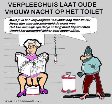 Cartoon: EEN NACHT OP HET TOILET (medium) by cartoonharry tagged cartoonharry,verpleeghuis,krant,nacht,pitten,zitten