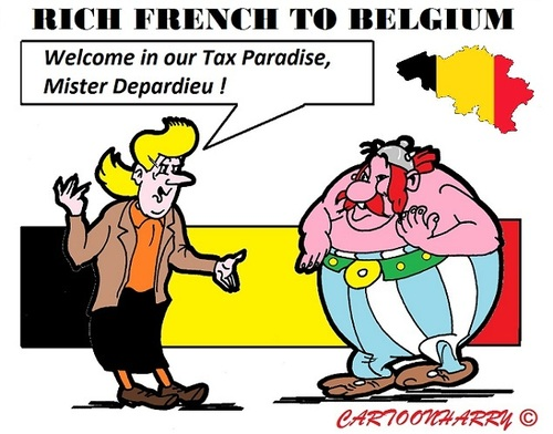 Cartoon: French to Paradise (medium) by cartoonharry tagged paradise,belgium,french,tax,sidonia,obelix,depardieu,cartoon,cartoonist,cartoonharry,dutch,toonpool