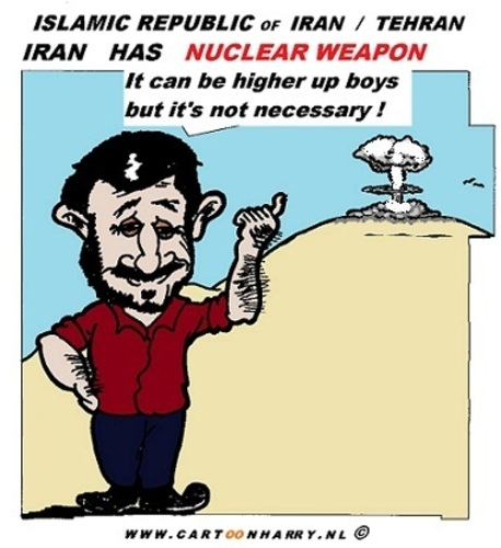 Cartoon: Iran and Nuclear Weapon (medium) by cartoonharry tagged iran,israel,ahmadinejad,nuclear,weapon,cartoon,cartoonist,cartoonharry,dutch,toonpool