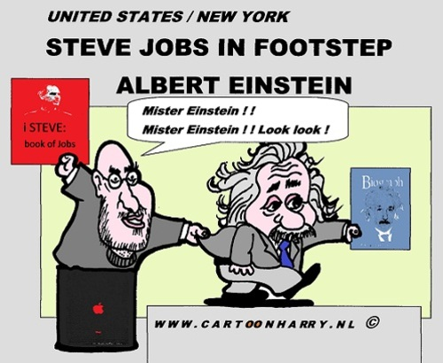 Cartoon: Jobs As Einstein (medium) by cartoonharry tagged biography,steve,jobs,albert,einstein,cartoon,comic,comics,comix,artist,art,arts,drawing,cartoonist,cartoonharry,toonpool,toonsup,hyves,linkedin,buurtlink,deviantart
