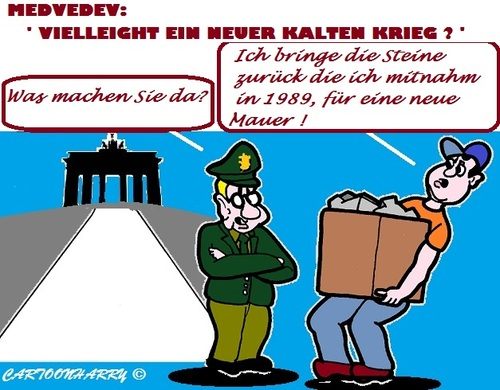 Cartoon: Kalter Krieg (medium) by cartoonharry tagged medvedev,kalterkrieg