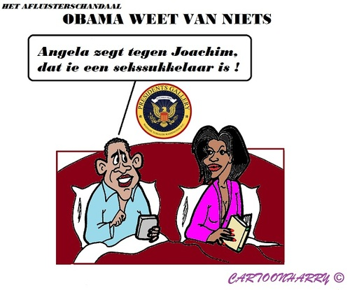 Cartoon: Merkel en Obama (medium) by cartoonharry tagged merkel,obama,michelle,afluisterschandaal,seks,sukkelaar