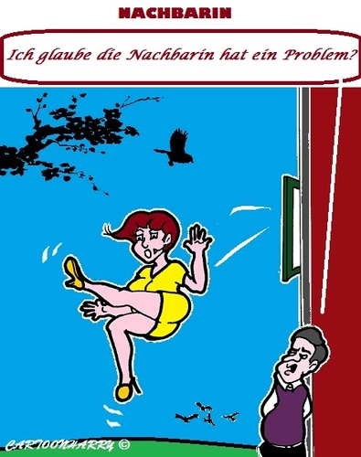 Cartoon: Nebenan (medium) by cartoonharry tagged nachbarin,probleme
