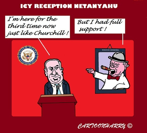 Cartoon: Netanyahu (medium) by cartoonharry tagged support,churchill,netanyahu,congress,usa