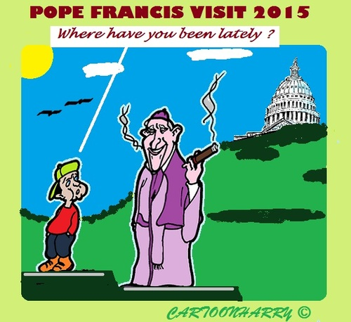 Cartoon: Pope Visit (medium) by cartoonharry tagged pope,visit,usa,cuba,cigar