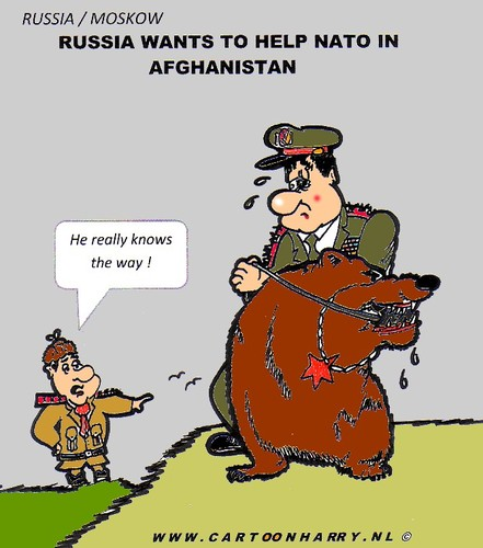 Cartoon: Russia Helps NATO (medium) by cartoonharry tagged nato,bear,russia,afghanistan,cartoonharry