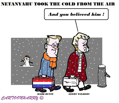 Cartoon: Rutte and Wilders (medium) by cartoonharry tagged rutte,wilders,cold,netanyahu,talkings,israel,holland,snow,believe