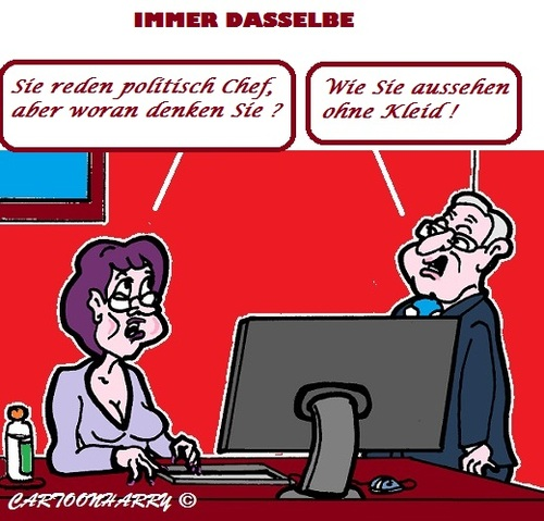 Cartoon: Schönes Kleid (medium) by cartoonharry tagged nakt,buro,chef,nachdenklich