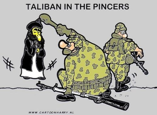 Cartoon: Taliban in the Pincers (medium) by cartoonharry tagged pincers,taliban,soldiers,afghanistan,cartoonharry