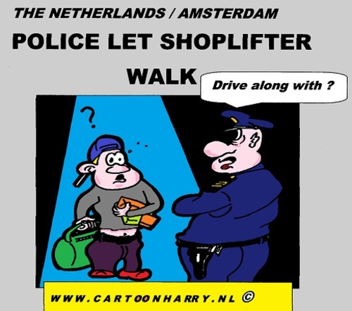 Cartoon: The Shoplifter and The Police (medium) by cartoonharry tagged the,deviantart,buurtlink,linkedin,hyves,toonsup,toonpool,holland,dutch,cartoonharry,cartoonist,drawing,arts,art,cool,artist,comics,comix,comic,cartoon,go,walk,police,shoplifter