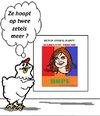 Cartoon: Marianne Thieme (small) by cartoonharry tagged mariannethieme,nederland,politiek,zetels,parlement,cartoon,chicken,dieren,pvdd,animalparty,cartoonist,cartoonharry,dutch,toonpool
