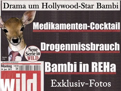 Cartoon: Bambi in REHa (medium) by Vanessa tagged reh,tiere,hollywood,drogen,überdosis,star,bambi