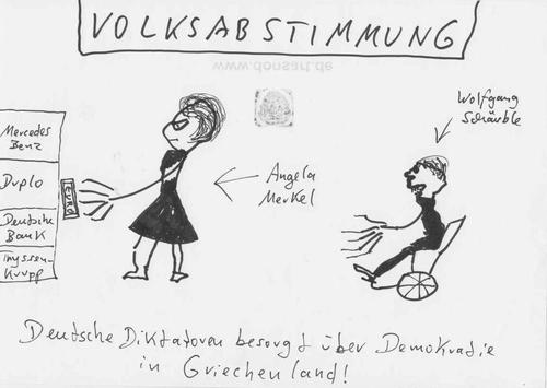 Cartoon: Volksabstimmung (medium) by Vanessa tagged griechenland,euro,volksabstimmung,rezession,merkel