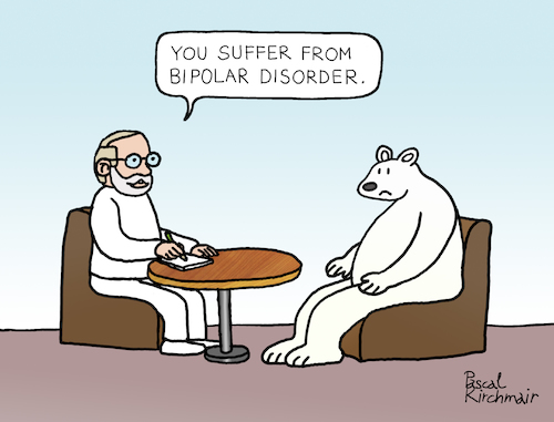 Cartoon: Bipolar Disorder (medium) by Pascal Kirchmair tagged polar,ice,bear,ours,polaire,blanc,oso,blanco,orso,polare,bianco,urso,branco,eisbär,polarbär,bipolar,disorder,störung,psychiater,psychiatrist,psychiatre,gag,humour,umorismo,umore,spirito,humor,lustig,cartoon,caricature,karikatur,pascal,kirchmair,no,deal,illustration,drawing,zeichnung,political,politische,ilustracion,dibujo,desenho,ink,disegno,ilustracao,illustrazione,illustratie,dessin,de,presse,du,jour,art,of,the,day,tekening,teckning,cartum,vineta,comica,vignetta,caricatura,esprit,witz,polar,ice,bear,ours,polaire,blanc,oso,blanco,orso,polare,bianco,urso,branco,eisbär,polarbär,bipolar,disorder,störung,psychiater,psychiatrist,psychiatre,gag,humour,umorismo,umore,spirito,humor,lustig,cartoon,caricature,karikatur,pascal,kirchmair,no,deal,illustration,drawing,zeichnung,political,politische,ilustracion,dibujo,desenho,ink,disegno,ilustracao,illustrazione,illustratie,dessin,de,presse,du,jour,art,of,the,day,tekening,teckning,cartum,vineta,comica,vignetta,caricatura,esprit,witz