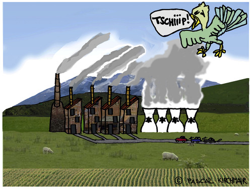 Cartoon: Ecological Destruction (medium) by Pascal Kirchmair tagged plant,power,atomic,kernkraftwerk,atomique,usine,destruction,protection,environnement,umweltzerstörung,fabrik,kirchmair,pascal,environment,factory