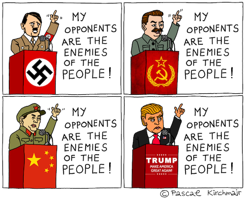 Cartoon: Enemy of the People (medium) by Pascal Kirchmair tagged donald,trump,totalitarianism,totalitarian,cartoon,caricature,hitler,nazi,karikatur,totalitär,vignetta,enemy,of,the,american,people,volksfeinde,usa,president,präsident,donald,trump,totalitarianism,totalitarian,cartoon,caricature,hitler,nazi,karikatur,totalitär,vignetta,enemy,of,the,american,people,volksfeinde,usa,president,präsident