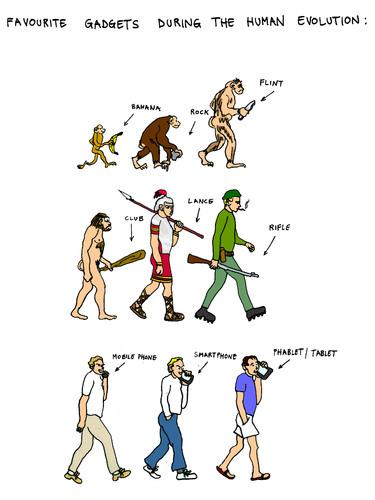 Human evolution cartoon