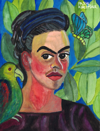 Cartoon: Frida Kahlo (medium) by Pascal Kirchmair tagged self,portrait,with,con,bonito,autorretrato,after,frida,kahlo,pascal,kirchmair,painting,pintura,aquarell,watercolour,ilustracion,illustration,ilustracao,peinture,watercolor,pittura,dipinto,cuadro,quadro,lienzo,self,portrait,with,con,bonito,autorretrato,after,frida,kahlo,pascal,kirchmair,painting,pintura,aquarell,watercolour,ilustracion,illustration,ilustracao,peinture,watercolor,pittura,dipinto,cuadro,quadro,lienzo
