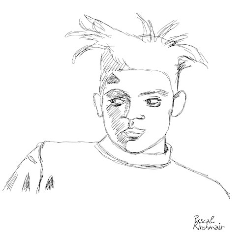 Cartoon: Jean-Michel Basquiat (medium) by Pascal Kirchmair tagged neoexpressionismus,expressionism,jean,michel,basquiat,cartoon,caricature,karikatur,ilustracion,illustration,pascal,kirchmair,dibujo,desenho,drawing,zeichnung,disegno,ilustracao,illustrazione,illustratie,dessin,de,presse,du,jour,art,of,the,day,tekening,teckning,cartum,vineta,comica,vignetta,caricatura,humor,humour,political,portrait,retrato,ritratto,portret,neoexpressionismus,expressionism,jean,michel,basquiat,cartoon,caricature,karikatur,ilustracion,illustration,pascal,kirchmair,dibujo,desenho,drawing,zeichnung,disegno,ilustracao,illustrazione,illustratie,dessin,de,presse,du,jour,art,of,the,day,tekening,teckning,cartum,vineta,comica,vignetta,caricatura,humor,humour,political,portrait,retrato,ritratto,portret