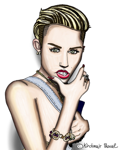 Cartoon: Miley Cyrus (medium) by Pascal Kirchmair tagged miley,cyrus,caricature,karikatur,portrait,cartoon,usa,miley,cyrus,caricature,karikatur,portrait,cartoon,usa