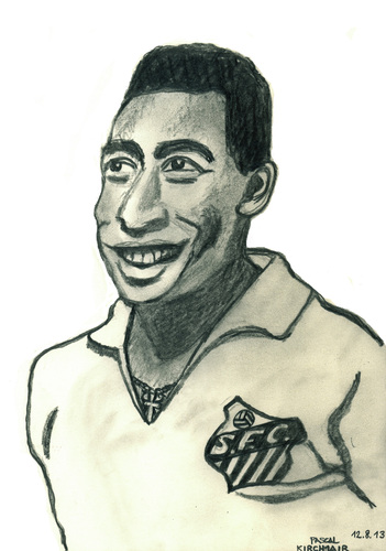 Cartoon: Pele (medium) by Pascal Kirchmair tagged fußballer,football,footballer,footballeur,soccer,player,bleistiftzeichnung,pencil,drawing,pele,edson,arantes,do,nascimento,edison,caricature,karikatur,cartoon,fußballspieler,sportler,brasilien,brasil,brazil,bresil,brasile
