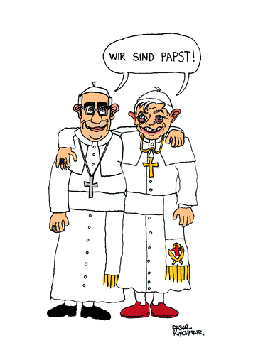 Cartoon: Popes rule the world (medium) by Pascal Kirchmair tagged papa,pape,pope,francesco,francois,xvi,benoit,papes,papas,popes,päpste,papst,ratzinger,bergoglio,franziskus,benedikt,benedetto,francis