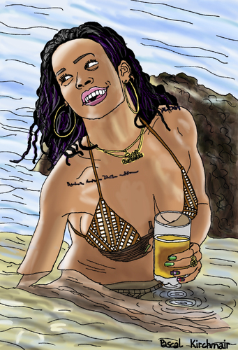 Cartoon: Rihanna (medium) by Pascal Kirchmair tagged rihanna,barbados,bikini,fun,beach,party,cartoon,caricature,karikatur,vignetta,dessin,zeichnung,rihanna,barbados,bikini,fun,beach,party,cartoon,caricature,karikatur,vignetta,dessin,zeichnung