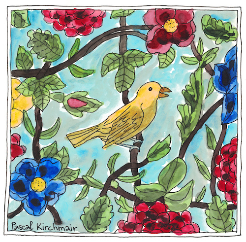 Yellow bird with flowers