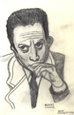 Cartoon: Albert Camus (small) by Pascal Kirchmair tagged ecrivain,philosophe,france,frankreich,fremde,etranger,albert,camus,litterature,literatur,nobelpreis,prix,nobel,schriftsteller