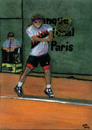 Cartoon: Andre Agassi (small) by Pascal Kirchmair tagged tournoi,turnier,champion,grand,slam,andre,agassi,french,open,roland,garros,masters,tournament,tennis