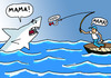 Cartoon: Angst (small) by Pascal Kirchmair tagged weisser hai grand requin blanc great squalo bianco white shark pointer food chain chaine alimentaire catena alimentare hochseefischen fischer nahrungskette sea angling angeln angler angst peur bleue fear peche en haute mer paura les dents de la jaws