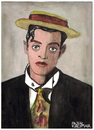 Cartoon: Buster Keaton (small) by Pascal Kirchmair tagged buster,keaton,stoic,portrait,retrato,pork,pie,piqua,hat,hollywood,kansas,actor,schauspieler,acteur,california,stummfilm,komiker,ritratto,drawing,zeichnung,aquarell,watercolour,dessin,dibujo,desenho,disegno,cartoon,caricature,karikatur,porkpie,hut