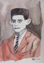 Cartoon: Franz Kafka (small) by Pascal Kirchmair tagged roman ecrivain author writer austria prag process schloss verschollene franz kafka schriftsteller portrait karikatur caricature