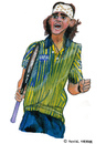 Cartoon: Gustavo Kuerten (small) by Pascal Kirchmair tagged player sport karikatur aquarell portrait gustavo kuerten brasilianischer spieler tennis brasil brazil brasilien brasile bresil