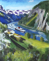 Cartoon: Hurtigruten (small) by Pascal Kirchmair tagged norge,illustration,abstrakt,abstract,hurtigruten,norway,norvege,norwegen,aquarell,gouache,watercolour,fjord