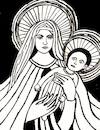 Cartoon: Mary with child (small) by Pascal Kirchmair tagged mother,mary,virgem,virgen,santa,sainte,vergine,maria,marie,jesus,christus,christ,cristo,jesucristo,gesu,child,vierge,virgin,jungfrau,heilige,kind,deus,dio,sohn,gottes,gott,dieu,god,son,fils,figlio,bambino,sao,heiliger,dios,ink,tusche,tuschezeichnung,portrait,retrato,ritratto,porträt,illustration,drawing,zeichnung,pascal,kirchmair,cartoon,caricature,karikatur,ilustracion,dibujo,desenho,disegno,ilustracao,illustrazione,illustratie,dessin,de,presse,du,jour,art,of,the,day,tekening,teckning,cartum,vineta,comica,vignetta,caricatura,portret,filho,nosso,senhor