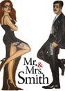 Cartoon: Mr and Mrs Smith (small) by Pascal Kirchmair tagged brangelina,mr,and,mrs,smith,brad,pitt,angelina,jolie,film,movie,cinema,kino