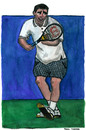 Cartoon: Pete Sampras (small) by Pascal Kirchmair tagged pistol,pete,sampras,tennis,grand,slam,wimbledon,australian,open,us,roland,garros,paris,player,atp,champion,championship,point,matchball