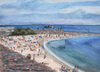 Cartoon: Plage du Vieil Antibes (small) by Pascal Kirchmair tagged zeichnung,illustration,strand,plage,aquarelle,watercolour,dessin,vieil,antibes,la,gravette