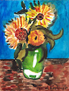 Cartoon: Three Sunflowers in a Vase (small) by Pascal Kirchmair tagged pascal,kirchmair,vincent,van,gogh,sonnenblumen,sunflowers,vase,tournesols,girasoles,girasoli,watercolor,aquarell,painting,dipinto,cuadro,quadro