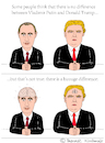 Cartoon: Vladimir Putin and Donald Trump (small) by Pascal Kirchmair tagged brain,donald,trump,vladimir,putin,cartoon,caricature,karikatur,vignetta,russia,usa,president,difference,comparison,intelligence,stupid,white,men,dumb,silly
