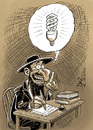 Cartoon: idea! (small) by pali diaz tagged idea,lamp,rabino