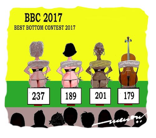 Cartoon: Best Bottom Contest (medium) by kar2nist tagged contest,bottom,cello,girs,bottoms