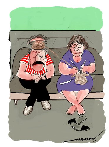 Cartoon: chivalrous hubby (medium) by kar2nist tagged chivalry,brain,knitting,wife