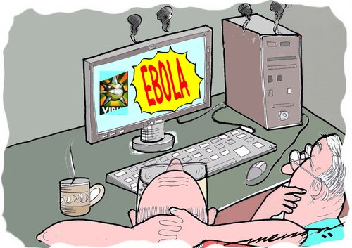 Cartoon: Computer too is not safe (medium) by kar2nist tagged virus,computer,ebola