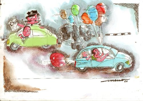 Cartoon: Fool the Cop (medium) by kar2nist tagged cop,the,fool,exhausts,cars,roadusers,cops,pollution