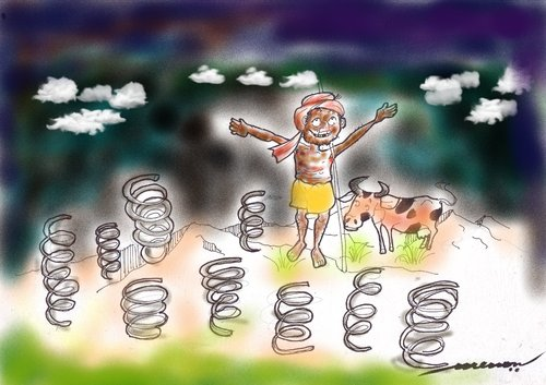 Cartoon: Indian Spring (medium) by kar2nist tagged spring,time,india,dark,skys,weather,climate